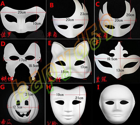 Good quality DIY mask hand painted Halloween white face Zorro crown butterfly blank paper masquerade 20 - YCK store