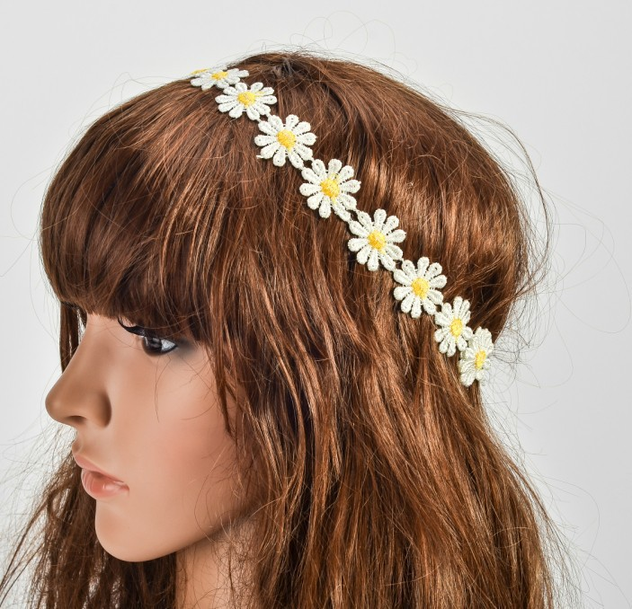 12pc retail charming Fshion sunflower lace handmade romantic Elastic headband hari accessories adult - Fashion Charm Girls store