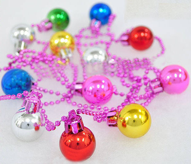 free shipping hot sale 260cm multicolour ball chain christmas decoration blended-color ball(China (Mainland))