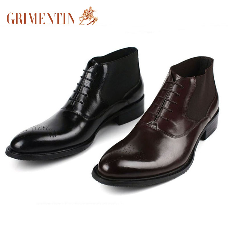 GRIMENTIN Fashion Handmade Italian Men Ankle Boots Genuine Leather Black Brown Carved Winter Shoes Men Offical Dress Shoes B227(China (Mainland))