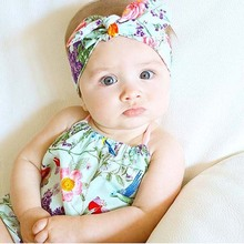 Cute Baby Floral Printed Knotted Bow Headband Fashion Flower Baby Turban Headband Girl Cotton Headwrap Retail HB218