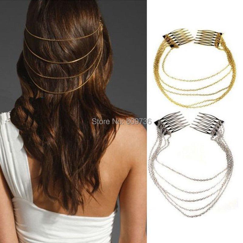 1 x Fashion Punk Hair Cuff Pin Clip 2 Combs Tassels Chains Head Band Silver/Gold Women Wedding Jewelry Free(China (Mainland))