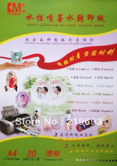 Free shipping, A4 clear/transparent inkjet water decal paper(China (Mainland))