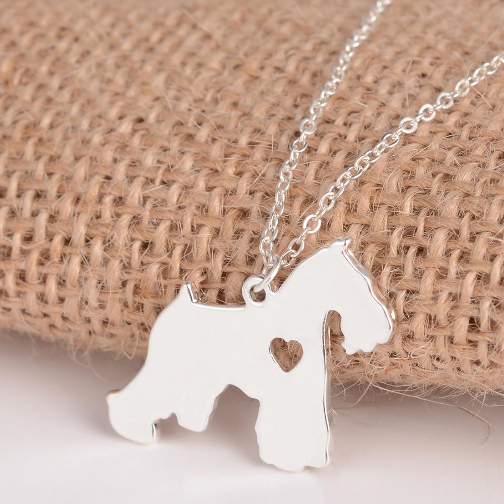 Cute Schnauzer Silver Necklace