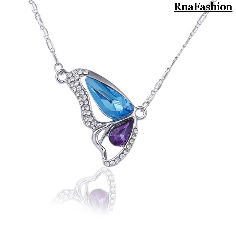 New 2014 Fashion Elegant Butterfly Crystal Pendants Necklaces Silver Plated Female Short Design Link Chain Necklace(China (Mainland))