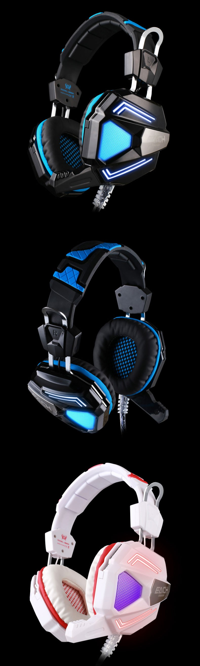 Each G5200 Rrofessional Gaming Headphones Casque Audio Built-in 7.1 Virtual Surround with MIC Vibration Luminous Earphone