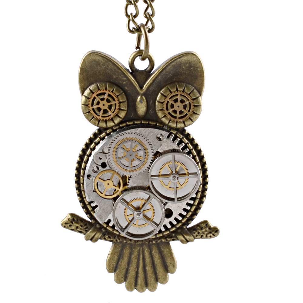 Unique Steampunk Fashion Gear Owl Jewelry Accessories Bronze Vintage Necklace Pendant Men Women Retro Chain Gifts(China (Mainland))