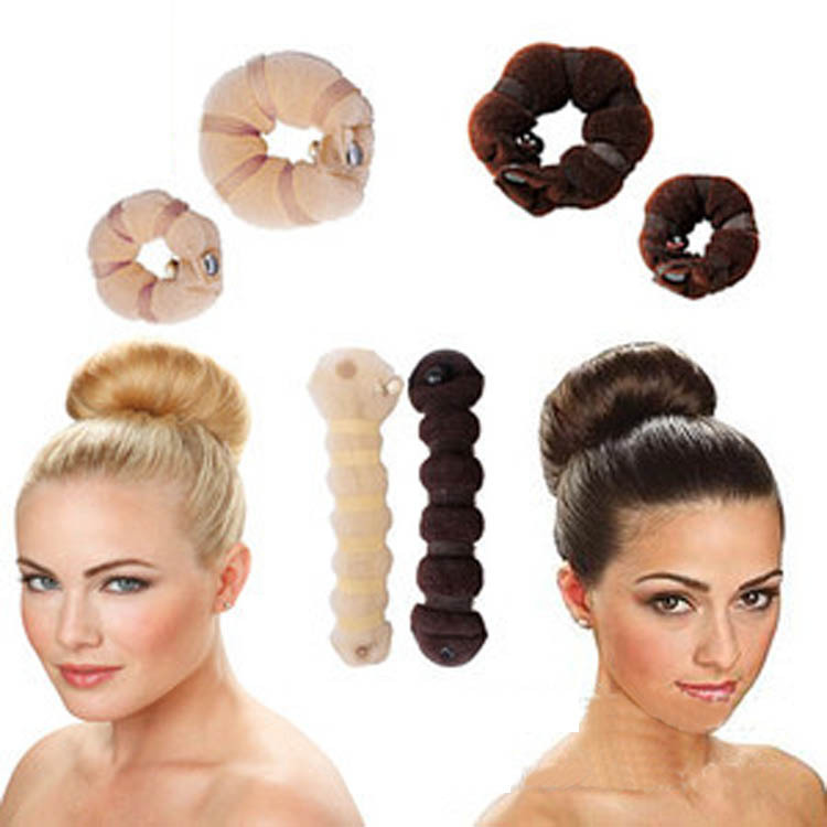 2016 2pcs/ Set Newly Arrival Different Sizes Elegant Magic Buns Hair Rope 3 Colors Drop Shopping Hair Accessories HG-0694(China (Mainland))