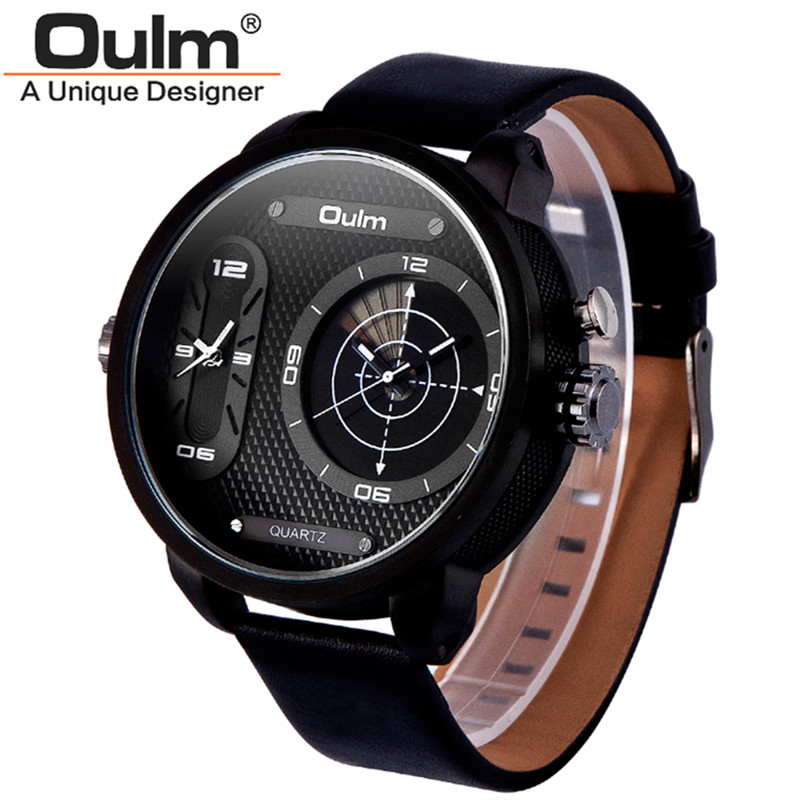 2016 New OULM 3221B Fashion Design Dual Time LED Radar Flash Screen Watches Men Leather Band Casual Quartz Watch Nouveau Montre(China (Mainland))