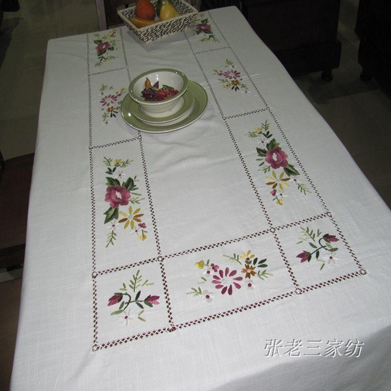 Export trade of the original single pure hand-embroidered white cotton slub cotton king large rectangular table cloth table clot(China (Mainland))