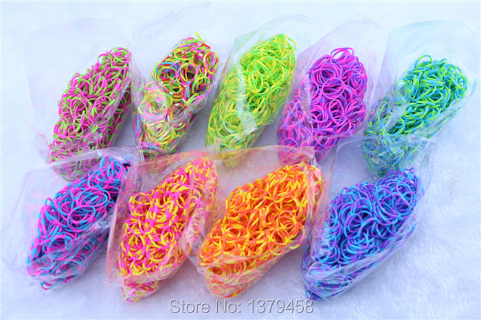 Tie dye DIY Bracelet Free shipping Fefill rubber bands Loom bands wristband 100pcs/lot(600pcs+25 S clips )(China (Mainland))