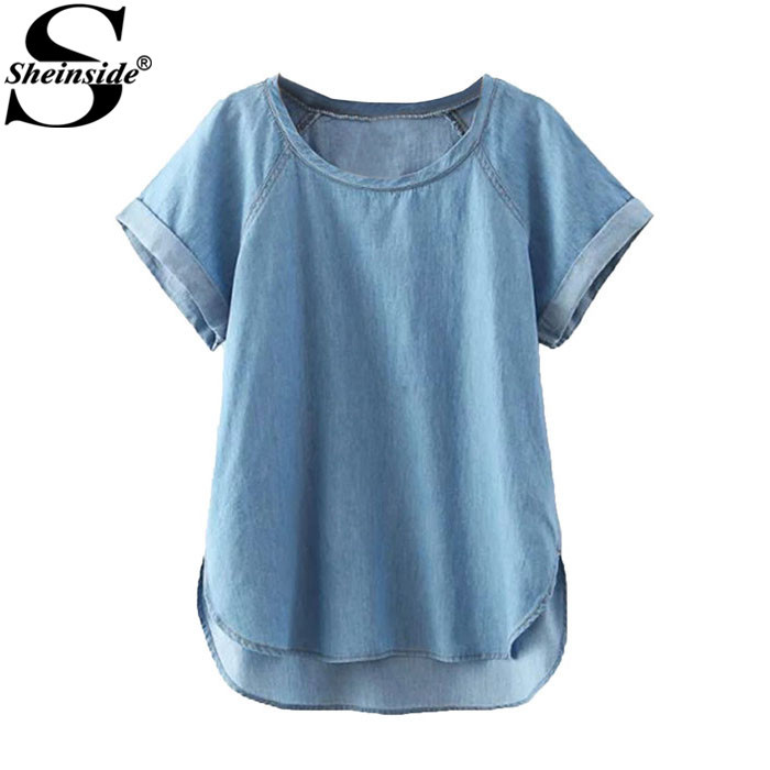 Sheinside European Style Blusas Femininas 2015 Summer Retro Blue Short Sleeve Round Neck Dip Hem Denim Blouse(China (Mainland))
