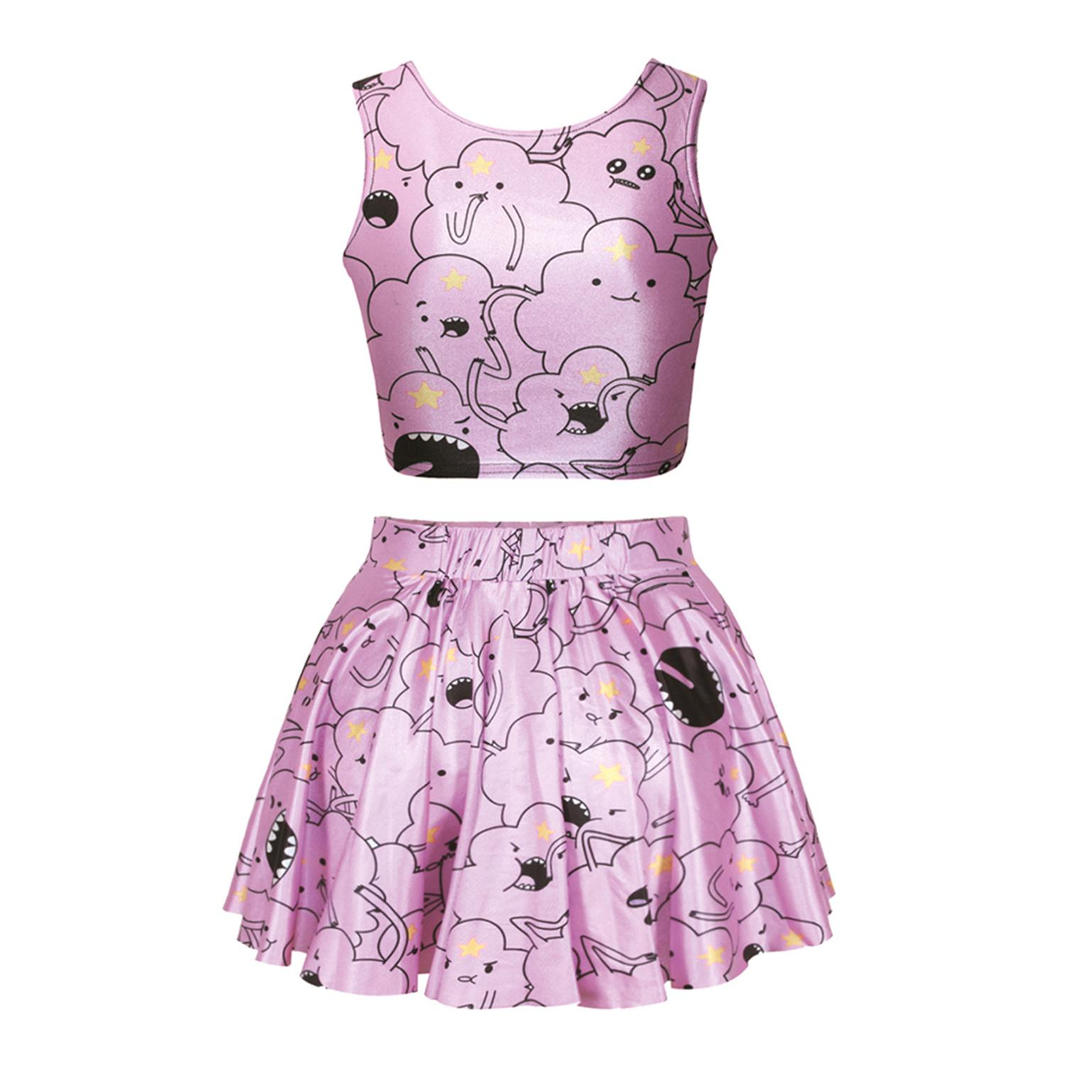 2016 New Fashion Womens 2 Piece Summer Sets New Style 2 Piece Set Fantastic Cloud Print Ball Gown Vs Love Pink Women Suits