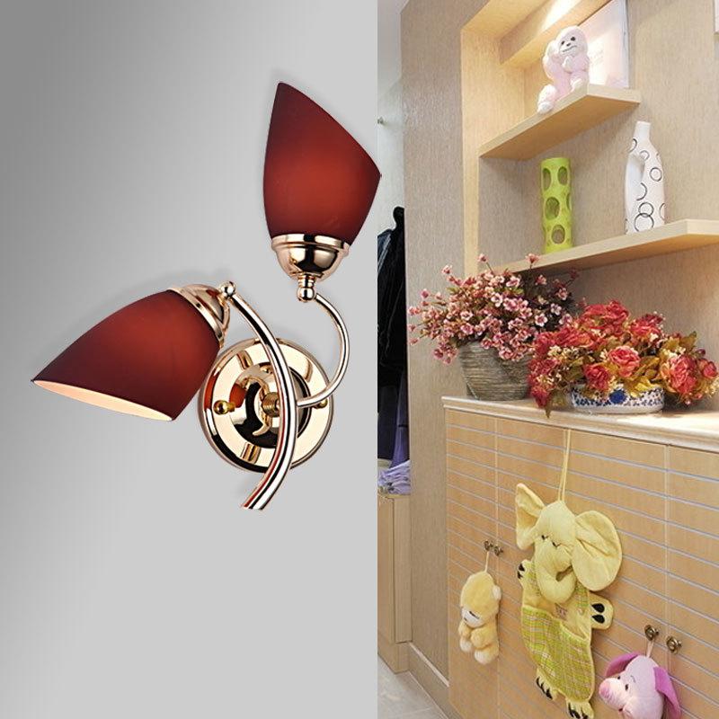 Фотография Creative LED wall lamp modern minimalist living room double bedroom bedside aisle stairs wall light purple warm