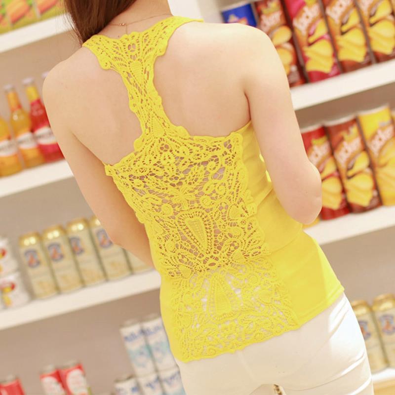 2015 summer fan back cutout crocheted lace, new Europe and eye-catching beauty back tank top(China (Mainland))