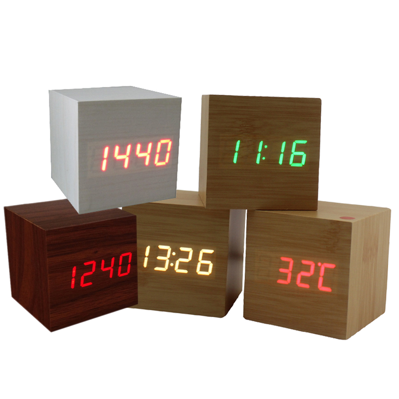 Multicolor Sound Control Wooden Wood Square LED Alarm Clock Desktop Table Digital Thermometer Wood USB/AAA Date Display(China (Mainland))