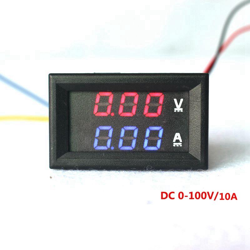 """DC 0-100V 10A Digital Voltmeter Ammeter Dual Display Voltage Detector Current Meter Panel Amp Volt Gauge 0.28"""" Red Blue LED(China (Mainland))"""