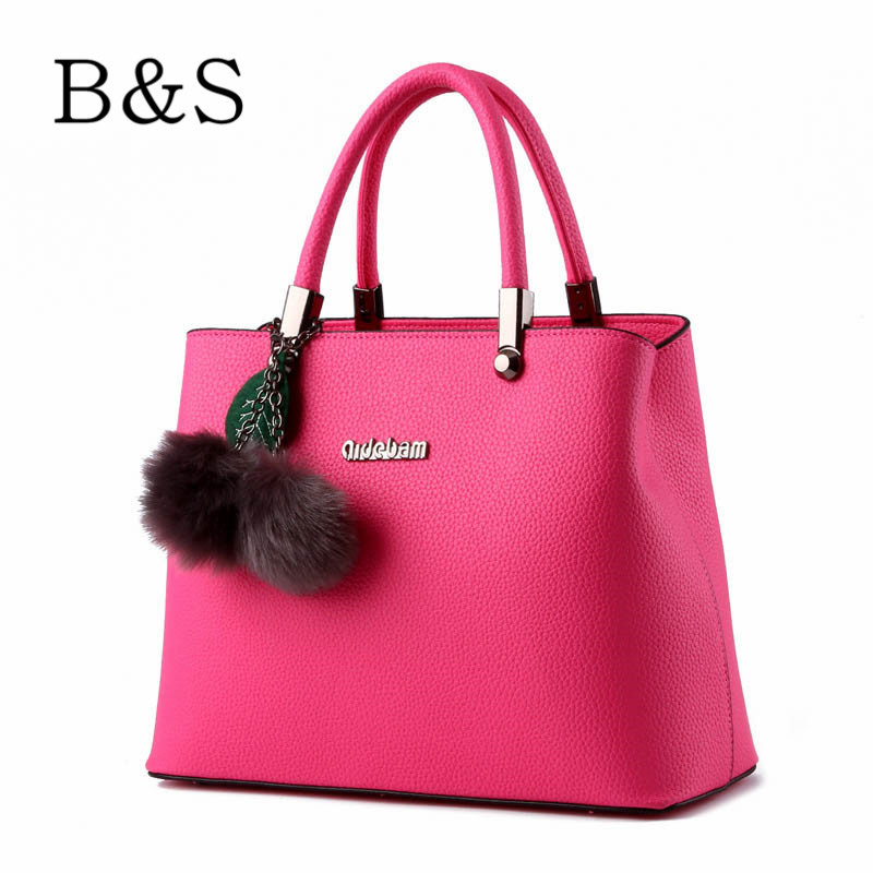 Women Bags Casual Plush Pendant Decoration Girls Leather Handbags Luxury Brand Design Female Shoulder Messenger Bags Beach 2016(China (Mainland))