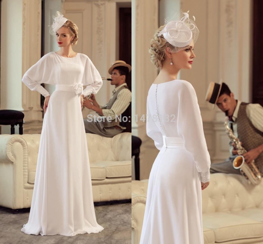 Vintage 2015 Beach Line Wedding Dress Crew Neckline Long Sleeves Chiffon Bridal Gowns Waist Sash Floor Length - FAERIE store