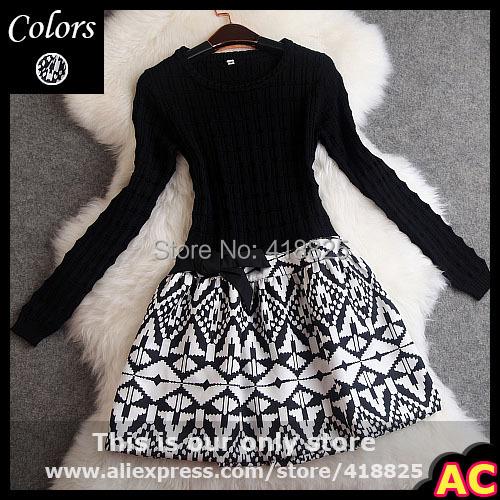 2014 autumn winter designer women's dresses black knitted top side waist bow vintage pattern print bottom fashion brand dress(China (Mainland))