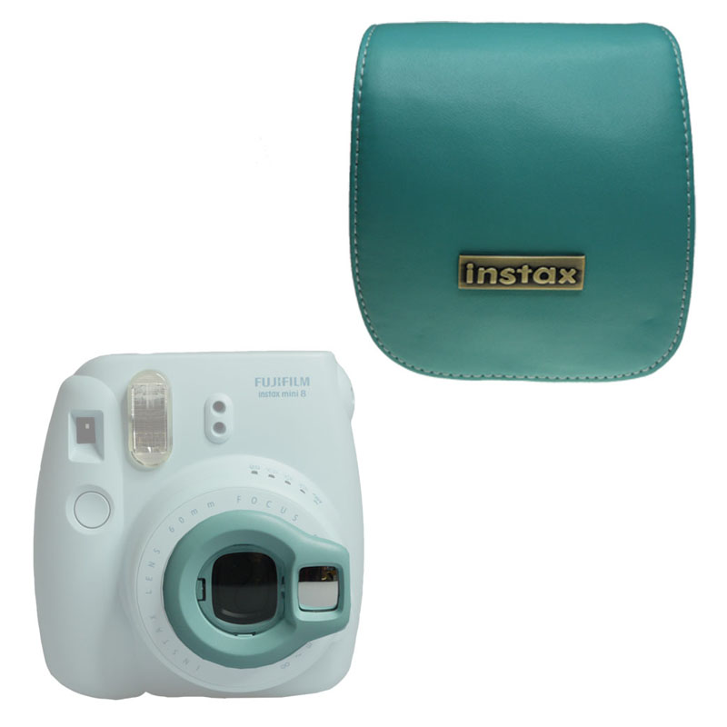 Takashi PU Leather Blue Protective Bag + Close-up Lens for Fujifilm Instax Mini 8 Instant Camera(Hong Kong)