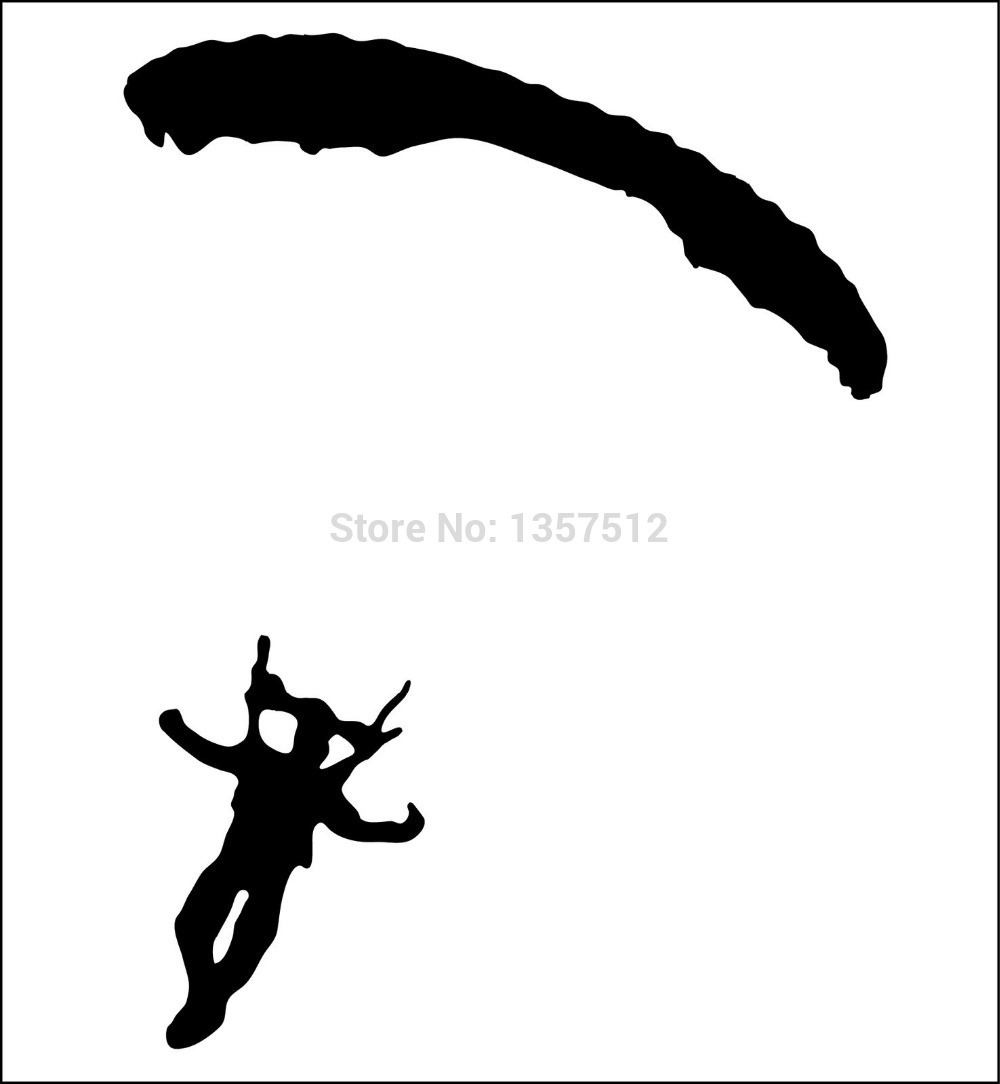Hot Sale Sky Diving Diver Parachute Car Window Sticker For Truck Bumper Door Kayak Vinyl Decal 8 Colors(China (Mainland))
