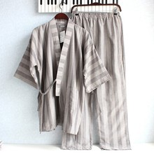 Free Shipping Men's Japanese Kimono Summer Cotton Fashion Mans Pyjamas Stripes Nightgown Hombre Pajama Sets Asian/Tag Size M,L(China (Mainland))