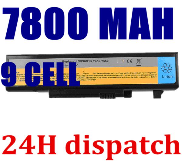 7800MAH new 9cells Laptop Battery For Lenovo IdeaPad Y450 Y450A Y450G Y550 Y550A Y550P 55Y2054 L08L6D13 L08O6D13 L08S6D13(China (Mainland))
