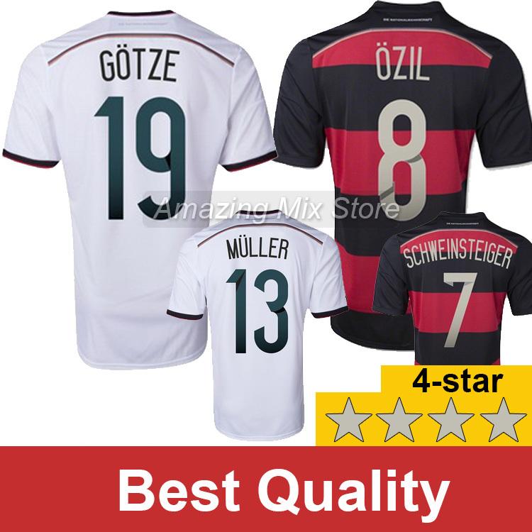 4-Star GER jersey world cup 2014 Top quality Schweinsteiger Gotze Ozil Muller soccer jerseys Home Away football shirt(China (Mainland))