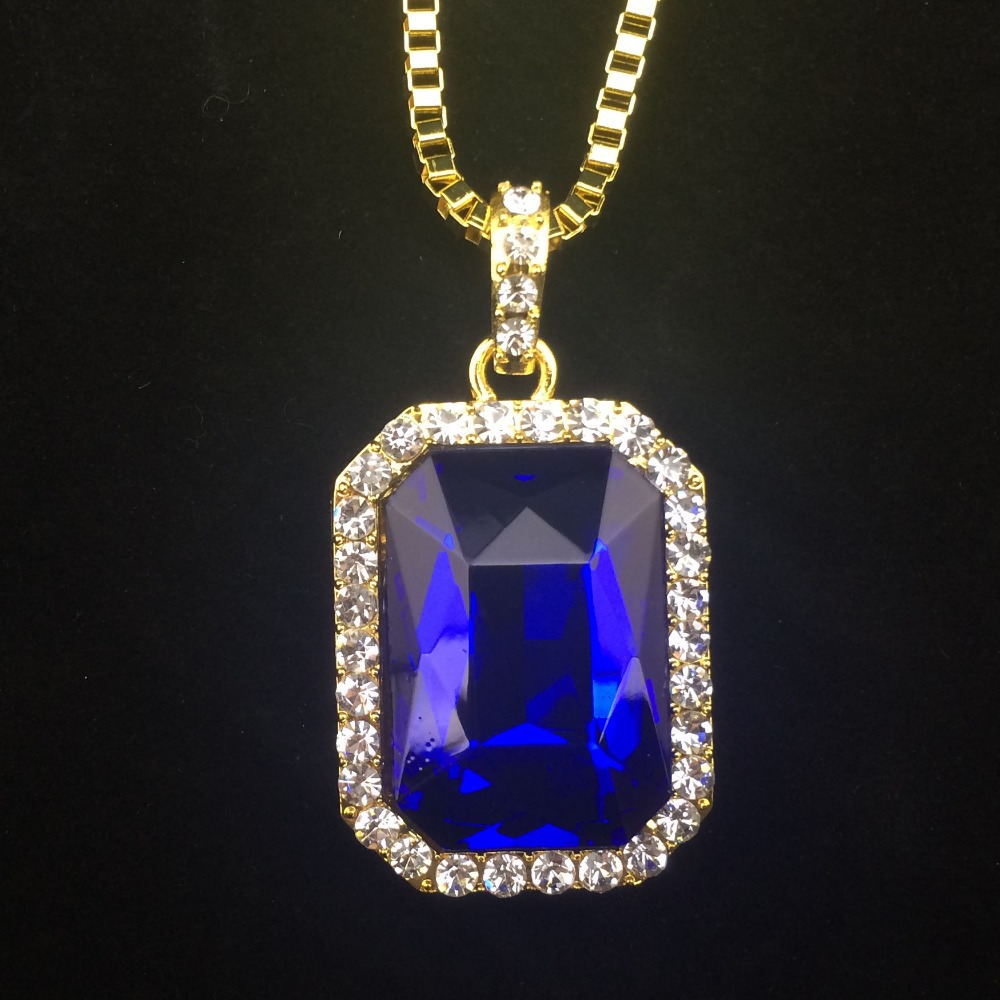 """Bling Bling Iced Out Red Ruby CZ Pendant Chain 14k Gold Square Red, Black, Blue RUBY  Pendant 30"""" Chain Necklace(China (Mainland))"""