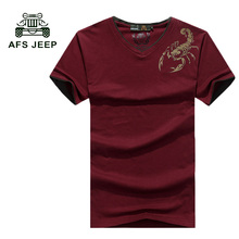 Buy AFS JEEP Hot Sale Men's V-Neck T Shirt 2017 Summer Fashion Short Sleeve T Shirt Men Slim Fit Mens Top Tees Shirt 40z for $14.89 in AliExpress store