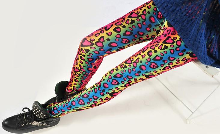 Женщин леопардовый / зебра многоцветный леггинсы узкие брюки светящийся радуга постепенно цвет приталенный леггинсы