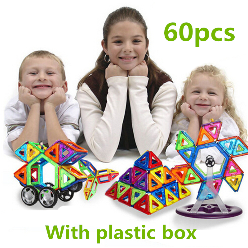 28-60 PCS standard size magnetic building blocks Model Building Toys Brick designer Enlighten Bricks magnetic with plastic box