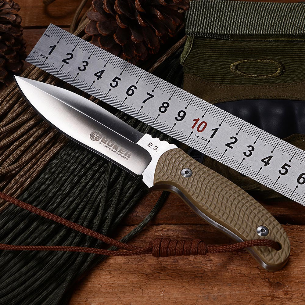 BOKER E3 Fixed Blade Tactical Hunting Knife AUS-8 Blade Camping Survival Knife Utility Knife With K Sheath G10 Handle Knife Tool(China (Mainland))