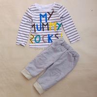 Комплект одежды для девочек Hei er verkauf 2015 neue Sommer jungen kleidung schreiben gestreiften auto /+ = kinderbekleidung