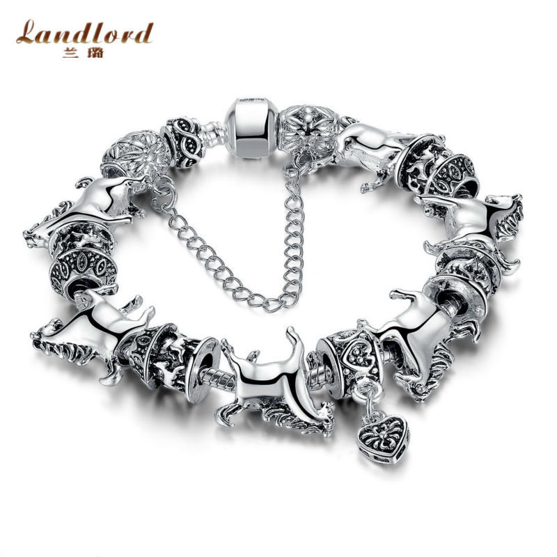 New Arrival 925 Silver European Bead Vintage Heart Charm Horse Bead Bracelet with Safety Chain for Women Original Jewelry LPA062(China (Mainland))