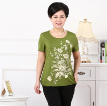 XL-XXXXL Large Size Women T-Shirt Middle Age Mother Hot Drill Print Short Sleeve Cotton T-Shirt 2015 Summer New Grandmother Top(China (Mainland))