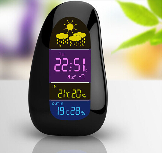 2015 new and humidity meter LED digital weather station wireless indoor outdoor temperature and humidity meter alarm clock(China (Mainland))