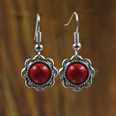Vintage Handmade Tibetan Silver Red Blue White Round Flower Turquoise Stone Dangle Drop Earrings Luxury Earring For Women Y1123(China (Mainland))