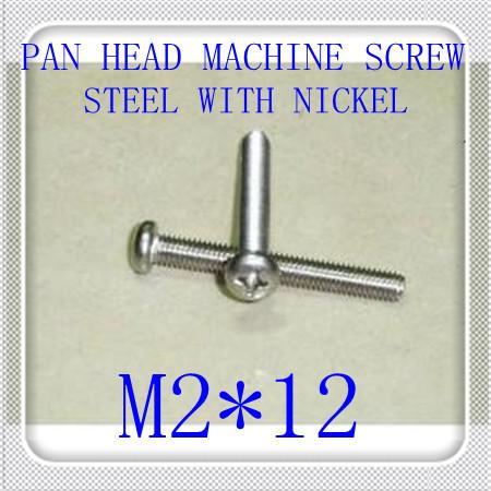 500pcs/lot DIN7985 M2*12 Steel With Nickel Pan Head Phillips (Cross recessed pan head) Machine Screw<br><br>Aliexpress