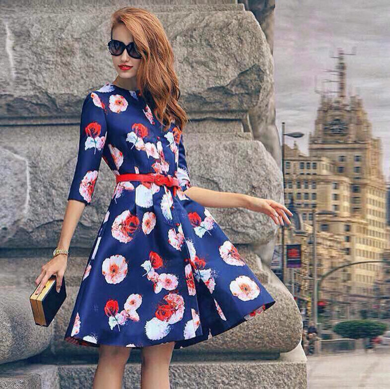 Aliexpress.com : Buy European and American style fashion print dress ...