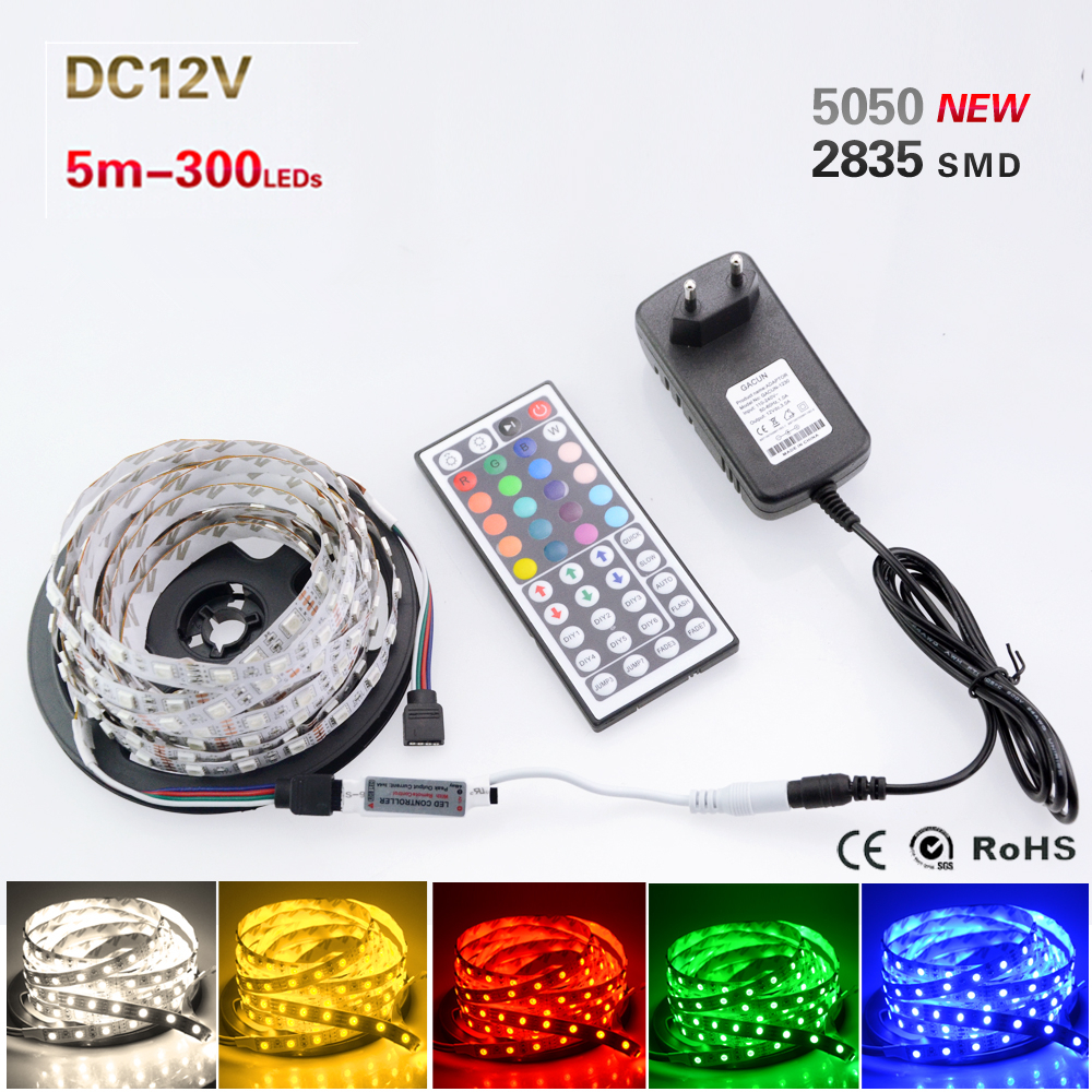 5M/Set 5050 3528 2835 3014 RGB LED Strip Light 300LEDs Tape Lamp + DC 12V 3A 36W Power Adapter Supply + 44 Key Remote Controller(China (Mainland))