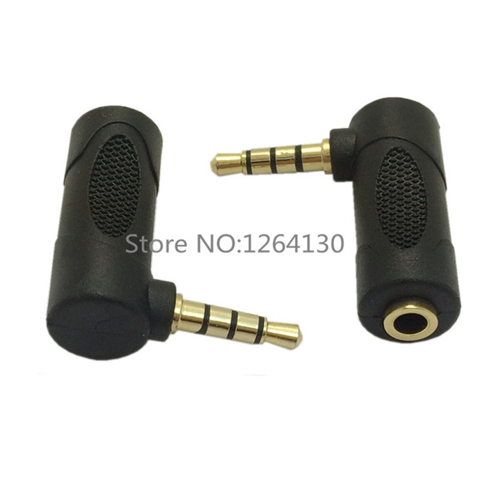 Plug Elbow right angle 3.5mm male to female audio connector 90 degrees adapter gold plated 5 pieces / lot(China (Mainland))