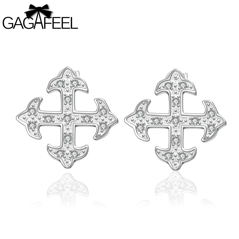 Brand new Fashion Women Wedding Jewelry silver Female Cross Stud Earrings Gem Crystal Zircon SE567 - Gagafeel Factory Co., Ltd store