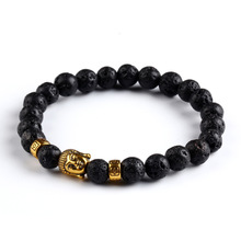 2015 Hot Pulseras mujer Lava stone buddha beads bracelet elastic charm bracelet rope chain Natural stone for men and women(China (Mainland))