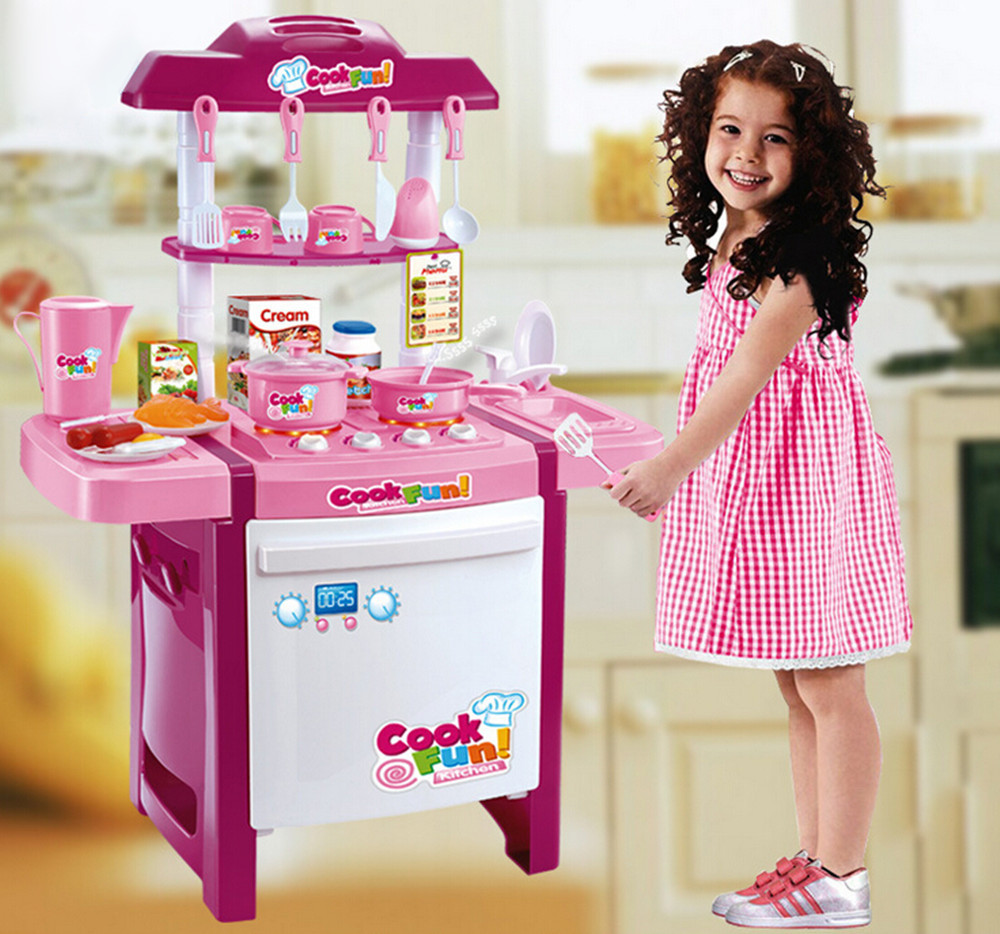 Kids Childrens Pretend Role Play Toys Kitchen Fast Food Supermarket Cooking Set(China (Mainland))