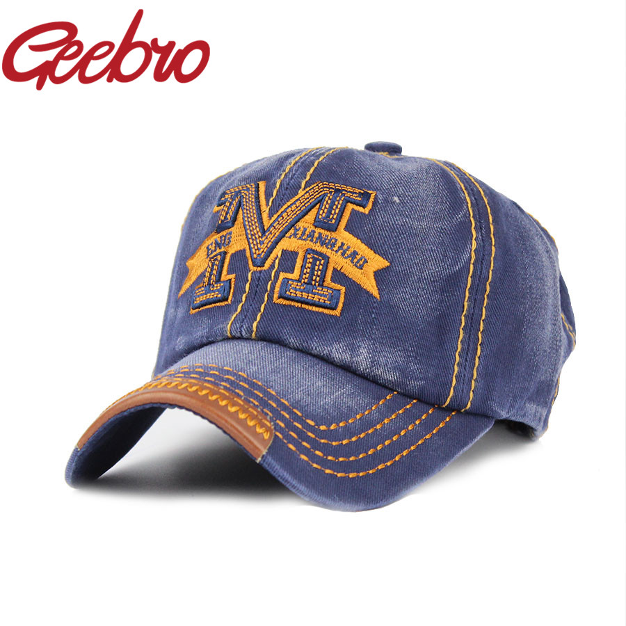 Geebro 2017 Letter M Embroidery Snapback Baseball Cap Outdoor Sports Caps Denim Fabric Hat for Men Women Free Shipping JS018-1(China (Mainland))