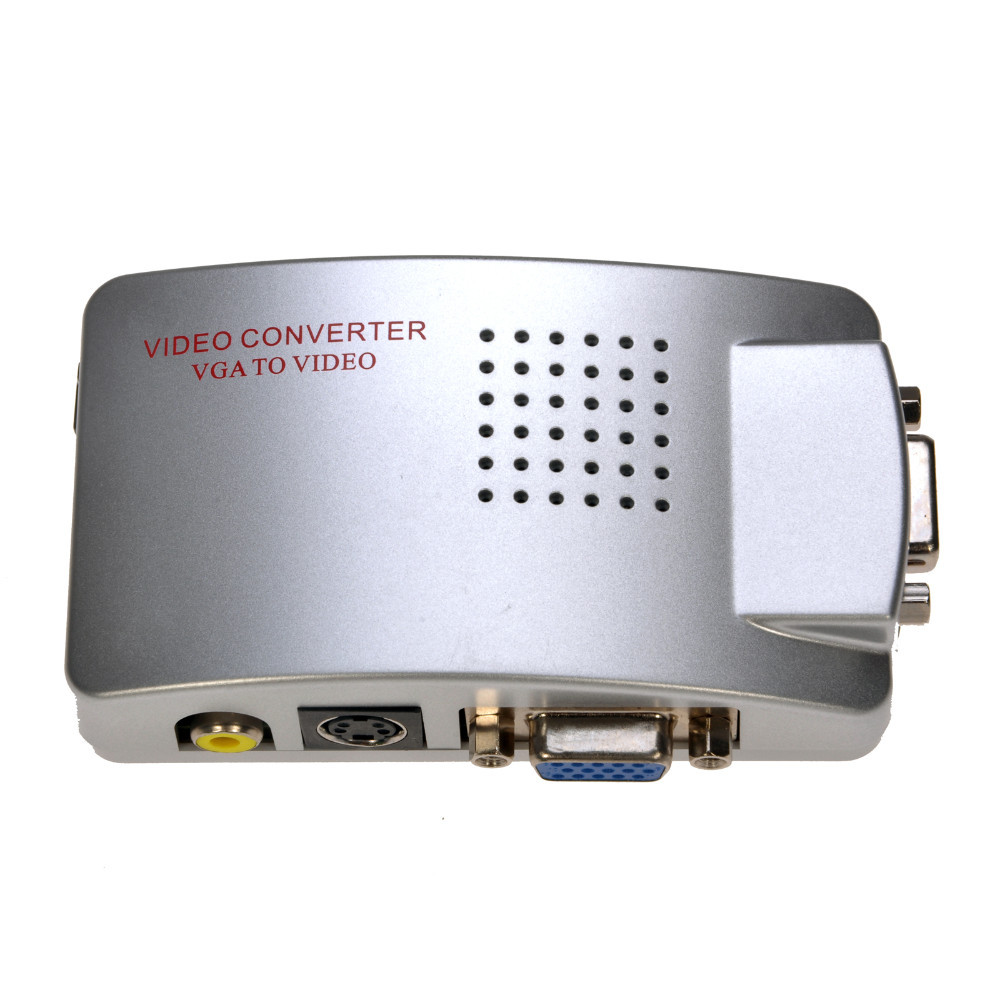 PC Laptop Composite Video TV RCA Composite S-Video AV In To PC VGA LCD Out Converter Adapter Switch Box(China (Mainland))