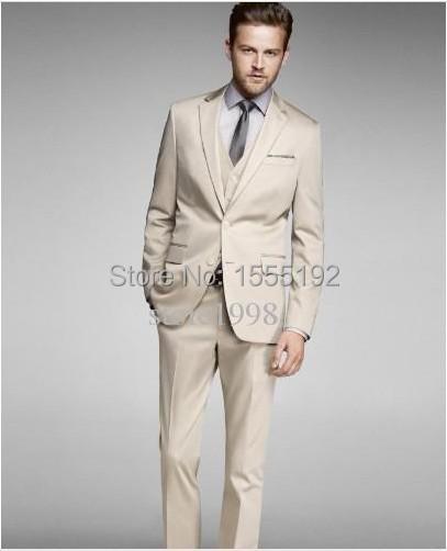 Nueva llegada del novio esmoquin Beige dos botones muesca solapa mejor hombre del padrino hombres Wedding / Prom trajes del novio(China (Mainland))