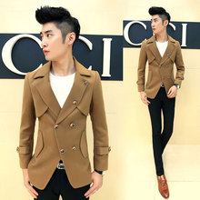 2015 male slim turn-down collar double breasted trench woolen outerwear slim coat(China (Mainland))